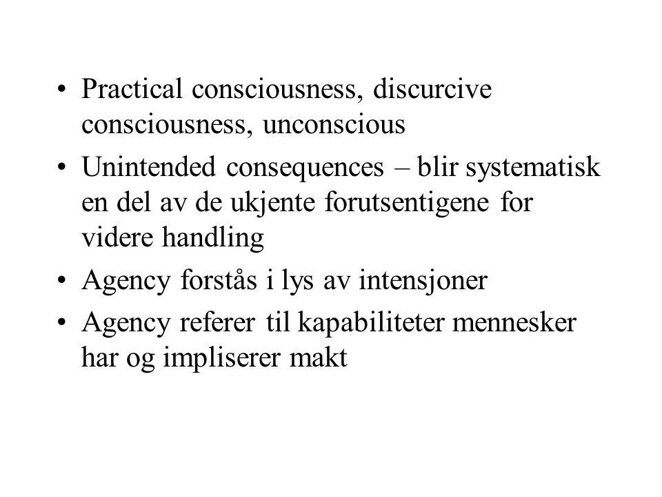 Strukturenes dualitet Strukturer hos Giddens er sett av regler og ressurser Regler betyr metodologiske prosedyrer for sosial interaksjon som konstituerer mening og legitimerer handling i forhold til andre Ressurser referer til hjelpemidler for maktutøvelse som en aktør har tilgang til i interaksjon med andre Autoritative vs.