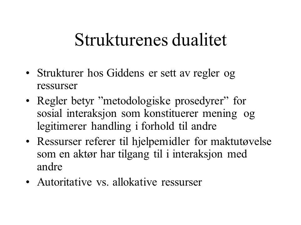 Strukturenes dualitet referer til at gjentatte sosiale praksiser både trekker på strukturelle ressurser og regler og rekonstituerer dem Se fig 5.3