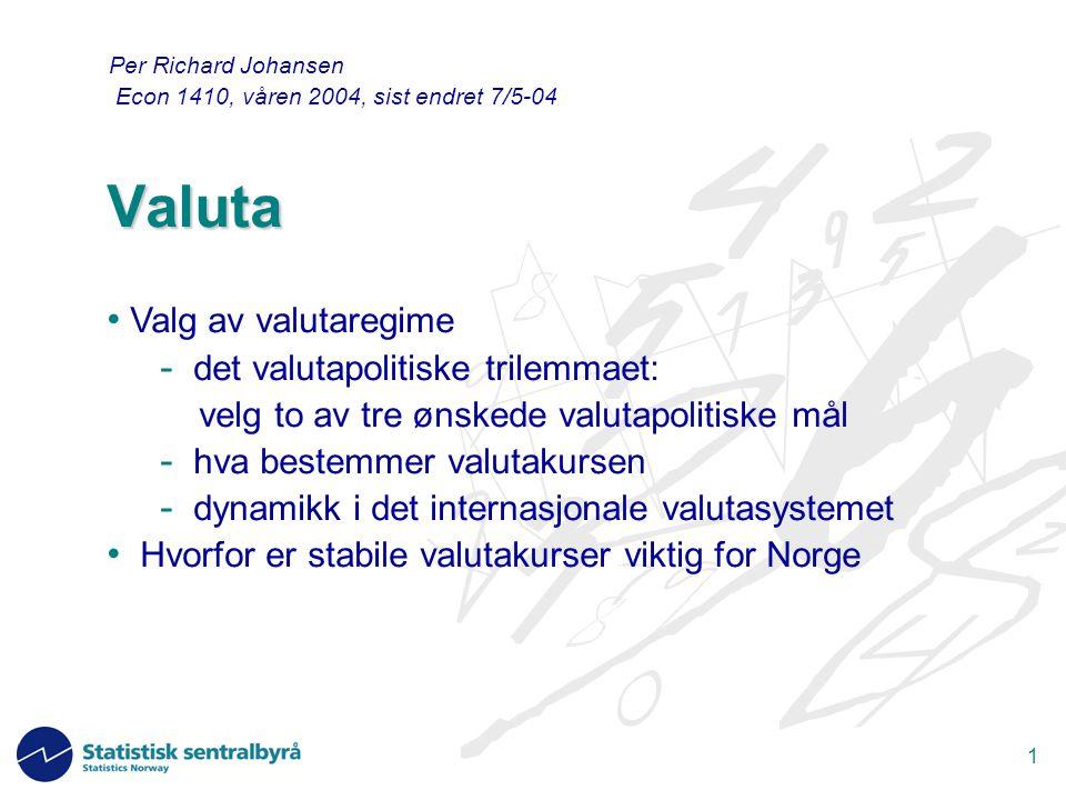1 Valuta Per Richard Johansen Econ 1410, våren 2004, sist endret 7/5-04 Valg av valutaregime - det valutapolitiske trilemmaet: velg to av tre ønskede