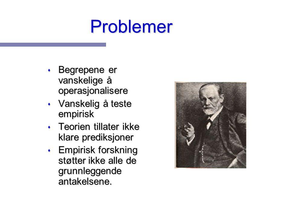 Problemer s Begrepene er vanskelige å operasjonalisere s Vanskelig å teste empirisk s Teorien tillater ikke klare prediksjoner s Empirisk forskning st