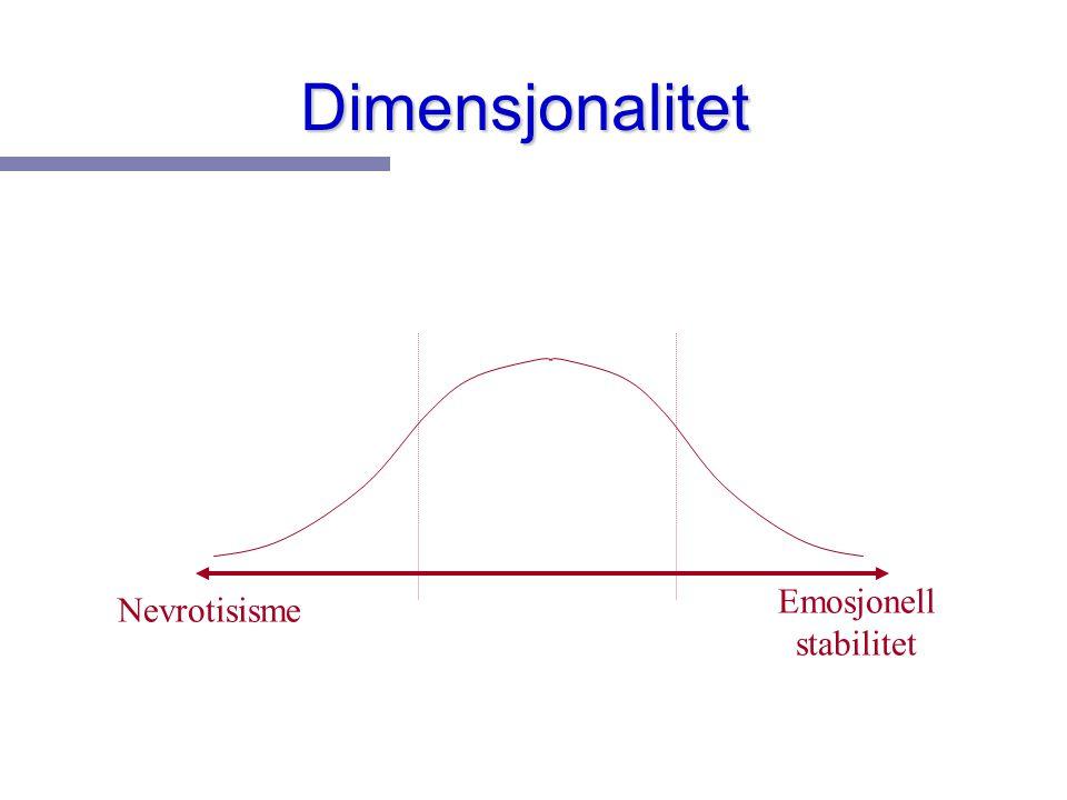 Dimensjonalitet Nevrotisisme Emosjonell stabilitet