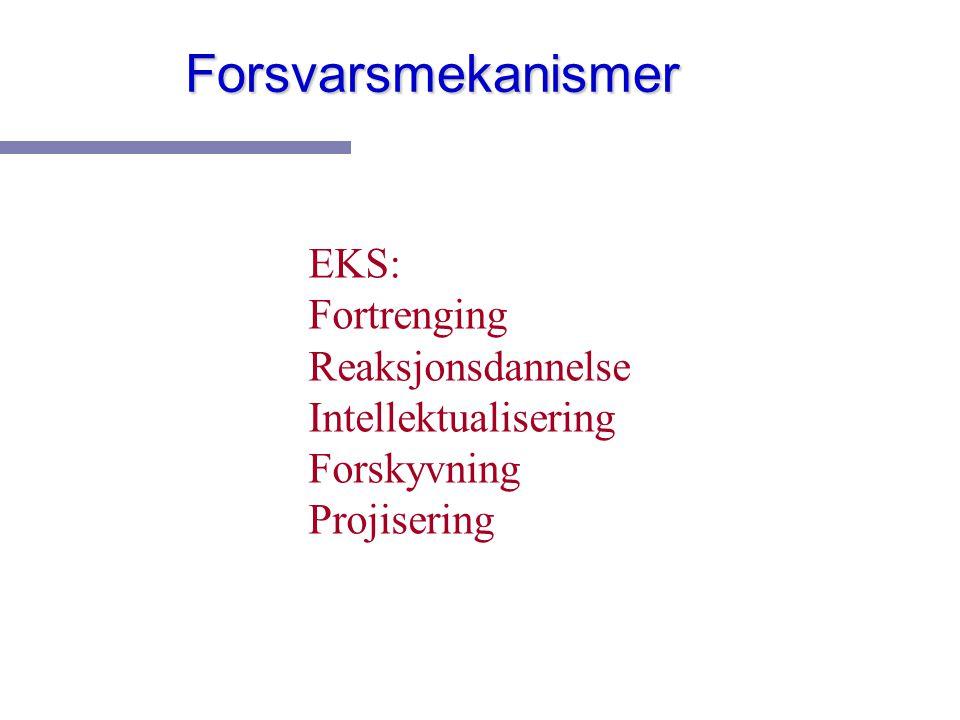 Forsvarsmekanismer EKS: Fortrenging Reaksjonsdannelse Intellektualisering Forskyvning Projisering