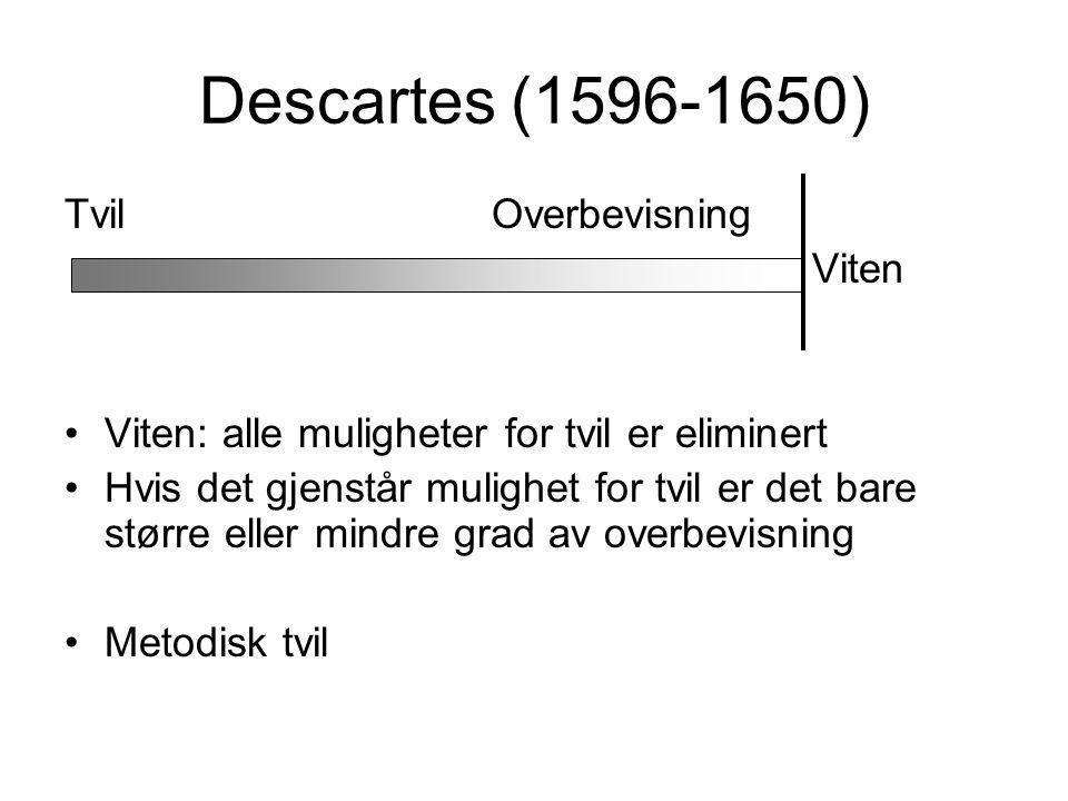 Descartes (1596-1650) TvilOverbevisning Viten Viten: alle muligheter for tvil er eliminert Hvis det gjenstår mulighet for tvil er det bare større eller mindre grad av overbevisning Metodisk tvil