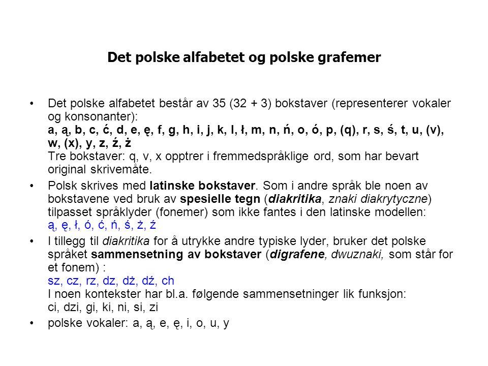 Det polske alfabetet og polske grafemer Det polske alfabetet består av 35 (32 + 3) bokstaver (representerer vokaler og konsonanter): a, ą, b, c, ć, d, e, ę, f, g, h, i, j, k, l, ł, m, n, ń, o, ó, p, (q), r, s, ś, t, u, (v), w, (x), y, z, ź, ż Tre bokstaver: q, v, x opptrer i fremmedspråklige ord, som har bevart original skrivemåte.