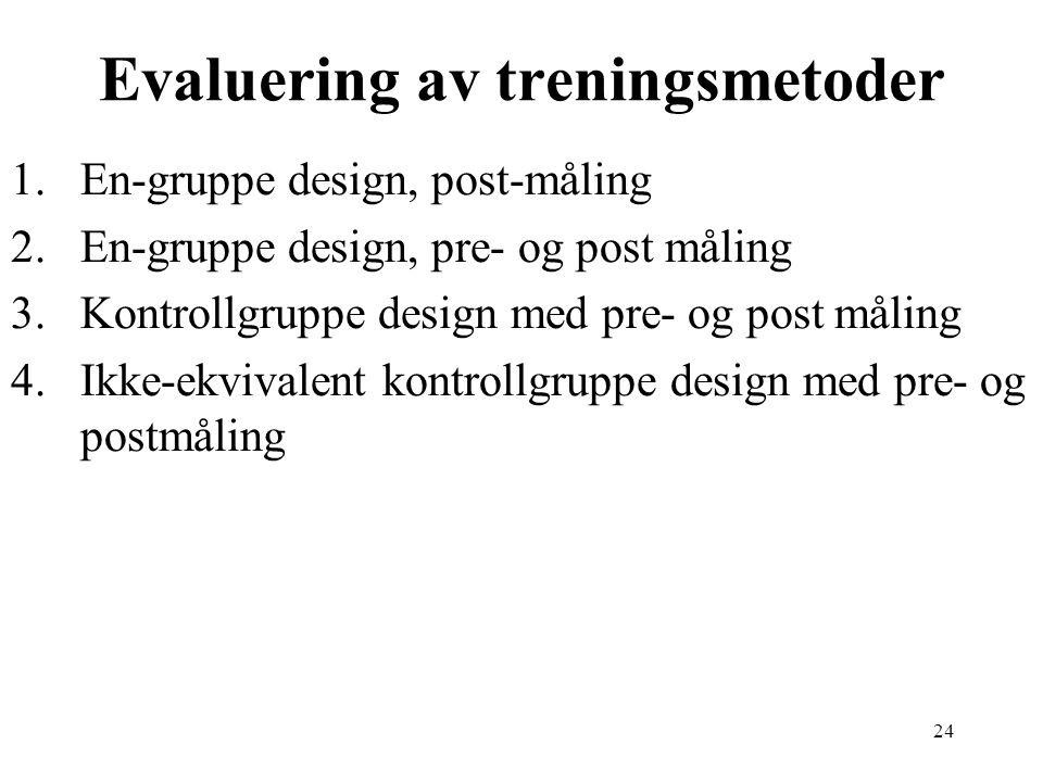 24 Evaluering av treningsmetoder 1.En-gruppe design, post-måling 2.En-gruppe design, pre- og post måling 3.Kontrollgruppe design med pre- og post måli