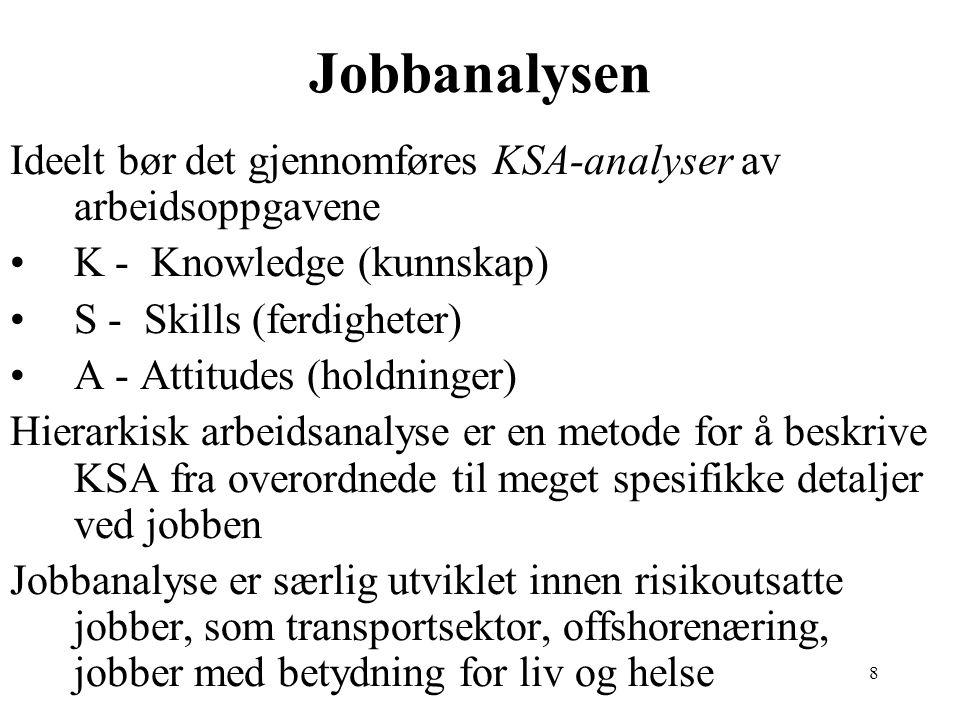 8 Jobbanalysen Ideelt bør det gjennomføres KSA-analyser av arbeidsoppgavene K - Knowledge (kunnskap) S - Skills (ferdigheter) A - Attitudes (holdninge