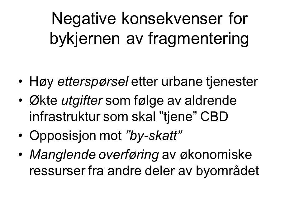 Negative konsekvenser for bykjernen av fragmentering Høy etterspørsel etter urbane tjenester Økte utgifter som følge av aldrende infrastruktur som skal tjene CBD Opposisjon mot by-skatt Manglende overføring av økonomiske ressurser fra andre deler av byområdet