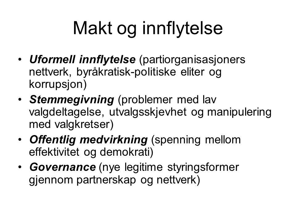 Makt og innflytelse Uformell innflytelse (partiorganisasjoners nettverk, byråkratisk-politiske eliter og korrupsjon) Stemmegivning (problemer med lav