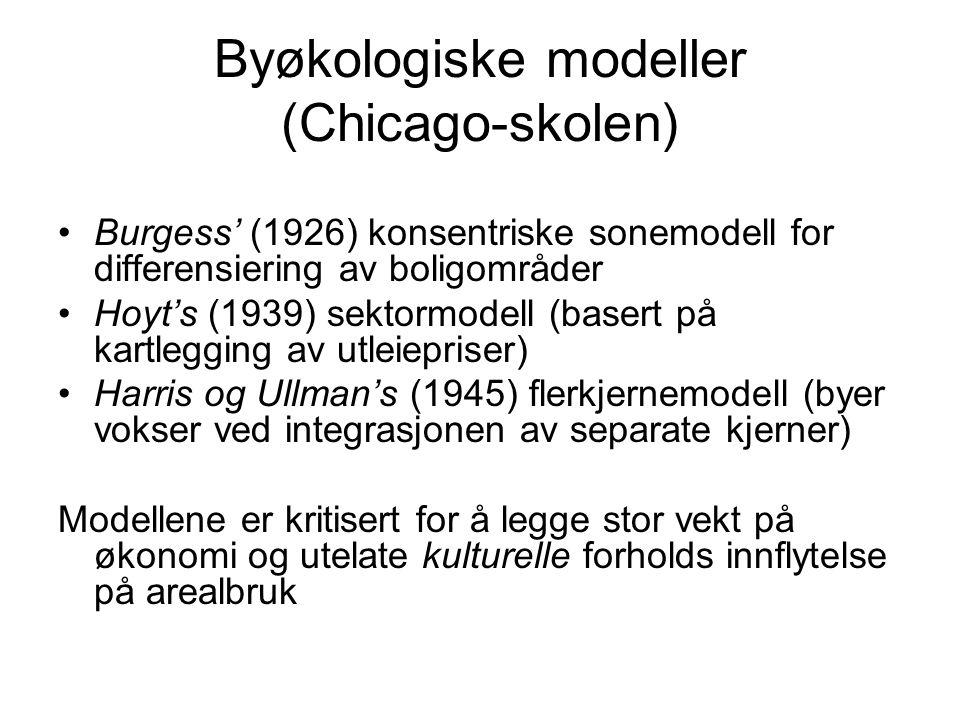 Byøkologiske modeller (Chicago-skolen) Burgess' (1926) konsentriske sonemodell for differensiering av boligområder Hoyt's (1939) sektormodell (basert på kartlegging av utleiepriser) Harris og Ullman's (1945) flerkjernemodell (byer vokser ved integrasjonen av separate kjerner) Modellene er kritisert for å legge stor vekt på økonomi og utelate kulturelle forholds innflytelse på arealbruk