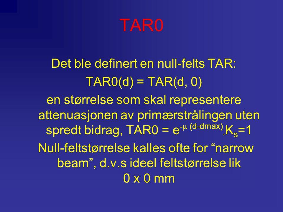 TAR0 Det ble definert en null-felts TAR: TAR0(d) = TAR(d, 0) en størrelse som skal representere attenuasjonen av primærstrålingen uten spredt bidrag, TAR0 = e -  (d-dmax), K s =1 Null-feltstørrelse kalles ofte for narrow beam , d.v.s ideel feltstørrelse lik 0 x 0 mm