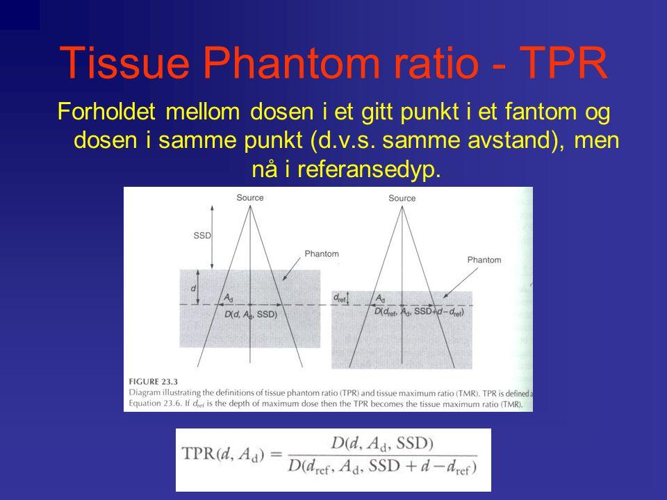 Tissue Phantom ratio - TPR Forholdet mellom dosen i et gitt punkt i et fantom og dosen i samme punkt (d.v.s. samme avstand), men nå i referansedyp.