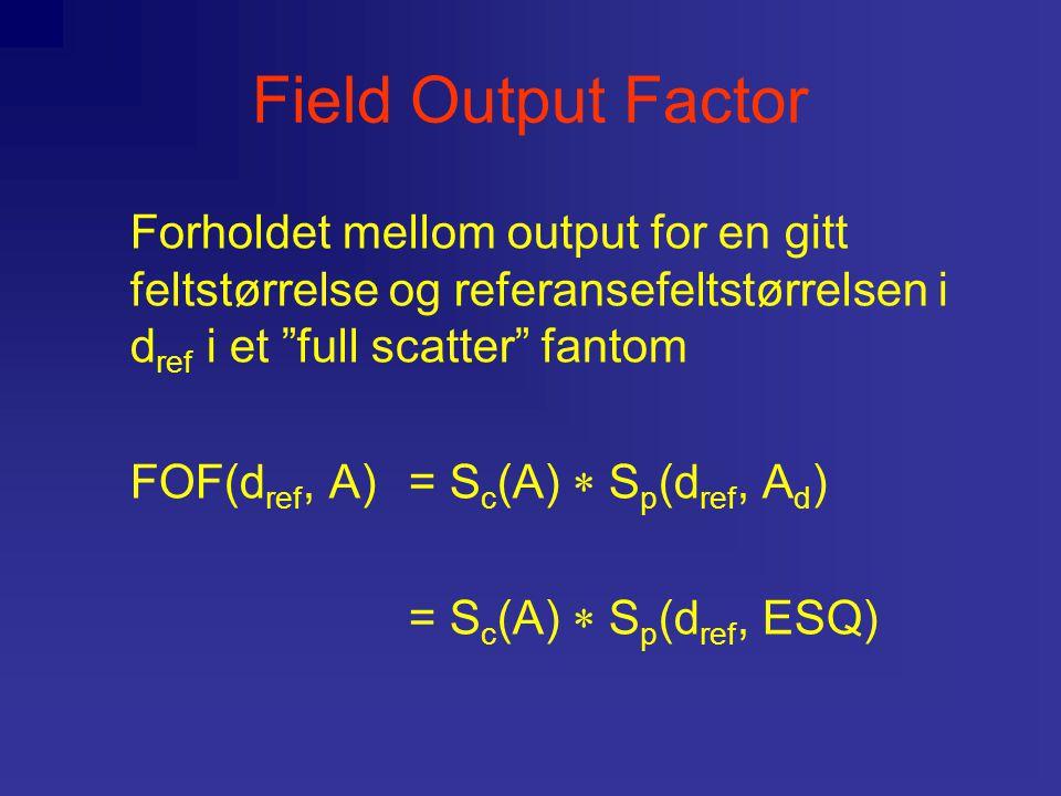 Field Output Factor Forholdet mellom output for en gitt feltstørrelse og referansefeltstørrelsen i d ref i et full scatter fantom FOF(d ref, A) = S c (A)  S p (d ref, A d ) = S c (A)  S p (d ref, ESQ)