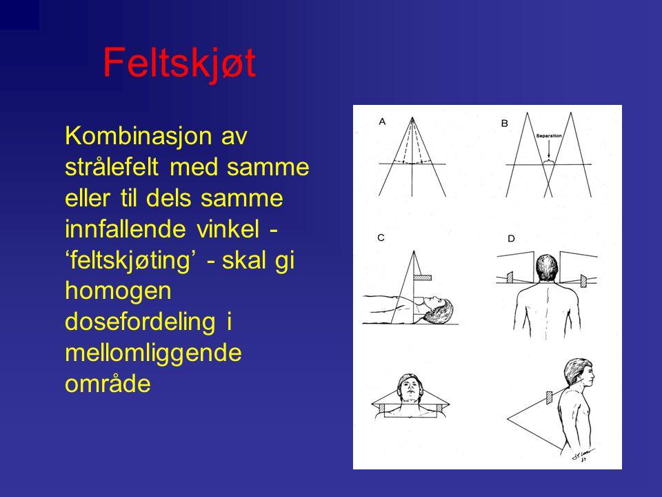 Feltskjøt Kombinasjon av strålefelt med samme eller til dels samme innfallende vinkel - 'feltskjøting' - skal gi homogen dosefordeling i mellomliggend