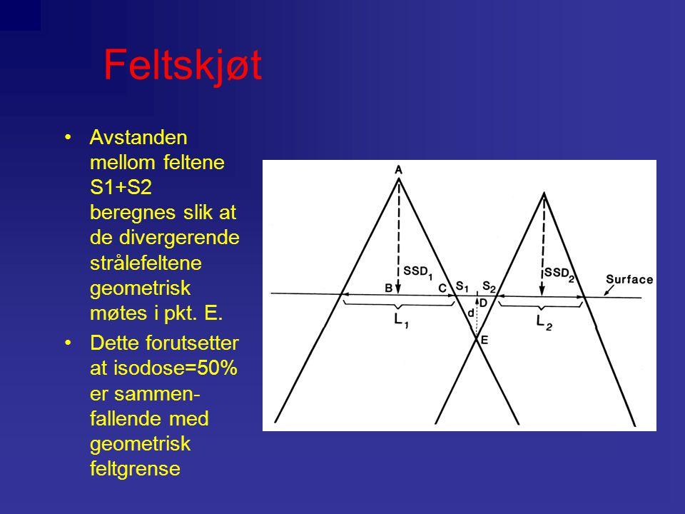 Feltskjøt Avstanden mellom feltene S1+S2 beregnes slik at de divergerende strålefeltene geometrisk møtes i pkt. E. Dette forutsetter at isodose=50% er
