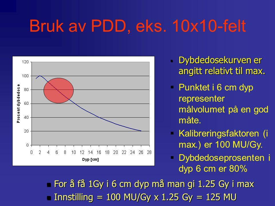  Punktet i 6 cm dyp representer målvolumet på en god måte.  Kalibreringsfaktoren (i max.) er 100 MU/Gy.  Dybdedoseprosenten i dyp 6 cm er 80%  Dyb