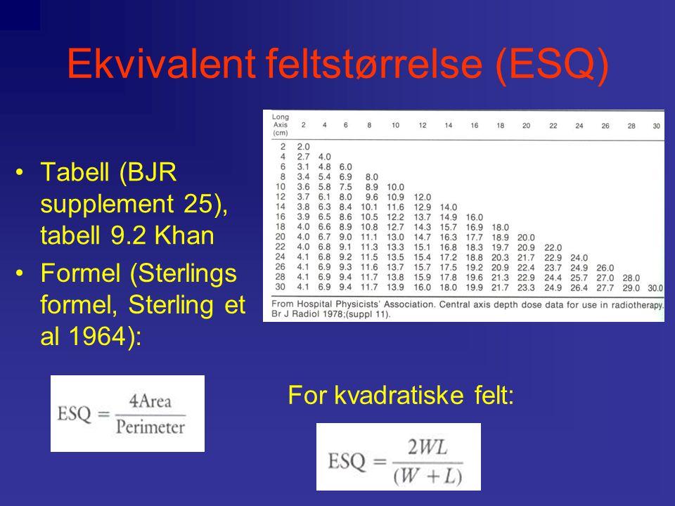Ekvivalent feltstørrelse (ESQ) Tabell (BJR supplement 25), tabell 9.2 Khan For kvadratiske felt: Formel (Sterlings formel, Sterling et al 1964):