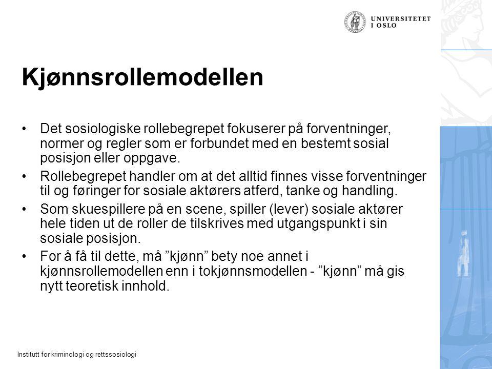 Institutt for kriminologi og rettssosiologi Kjønnsrollemodellen Det sosiologiske rollebegrepet fokuserer på forventninger, normer og regler som er for
