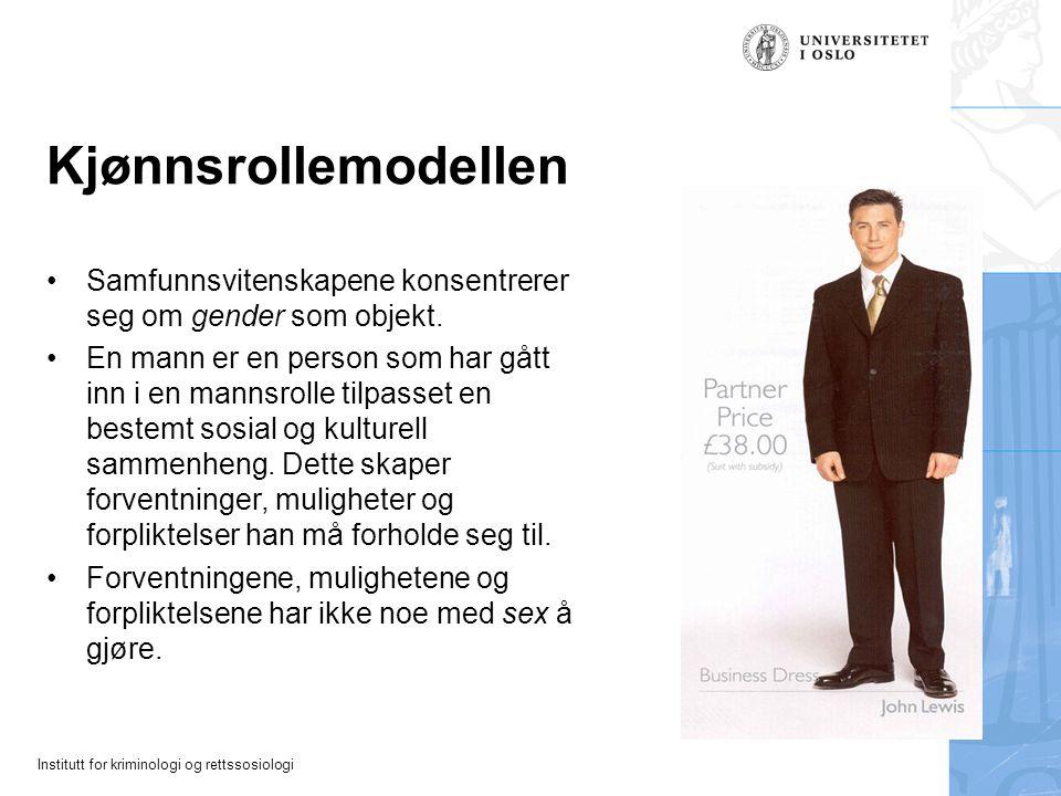Institutt for kriminologi og rettssosiologi Kjønnsrollemodellen Samfunnsvitenskapene konsentrerer seg om gender som objekt. En mann er en person som h