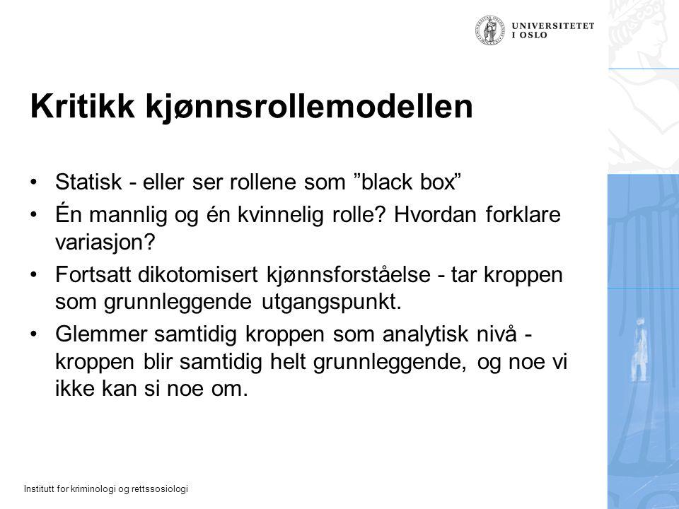 """Institutt for kriminologi og rettssosiologi Kritikk kjønnsrollemodellen Statisk - eller ser rollene som """"black box"""" Én mannlig og én kvinnelig rolle?"""