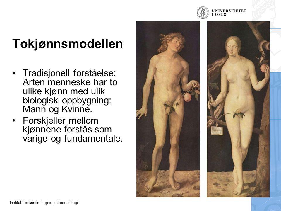 Institutt for kriminologi og rettssosiologi Tokjønnsmodellen Tradisjonell forståelse: Arten menneske har to ulike kjønn med ulik biologisk oppbygning:
