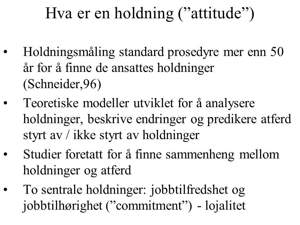 Hva er en holdning ( attitude ) Holdningsmåling standard prosedyre mer enn 50 år for å finne de ansattes holdninger (Schneider,96) Teoretiske modeller utviklet for å analysere holdninger, beskrive endringer og predikere atferd styrt av / ikke styrt av holdninger Studier foretatt for å finne sammenheng mellom holdninger og atferd To sentrale holdninger: jobbtilfredshet og jobbtilhørighet ( commitment ) - lojalitet