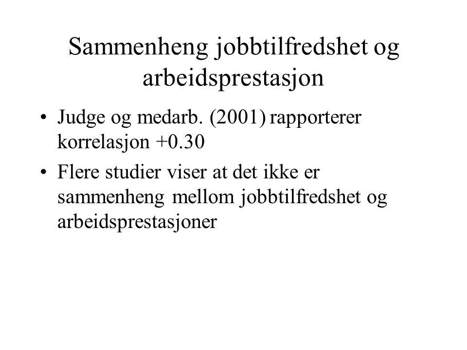 Sammenheng jobbtilfredshet og arbeidsprestasjon Judge og medarb. (2001) rapporterer korrelasjon +0.30 Flere studier viser at det ikke er sammenheng me