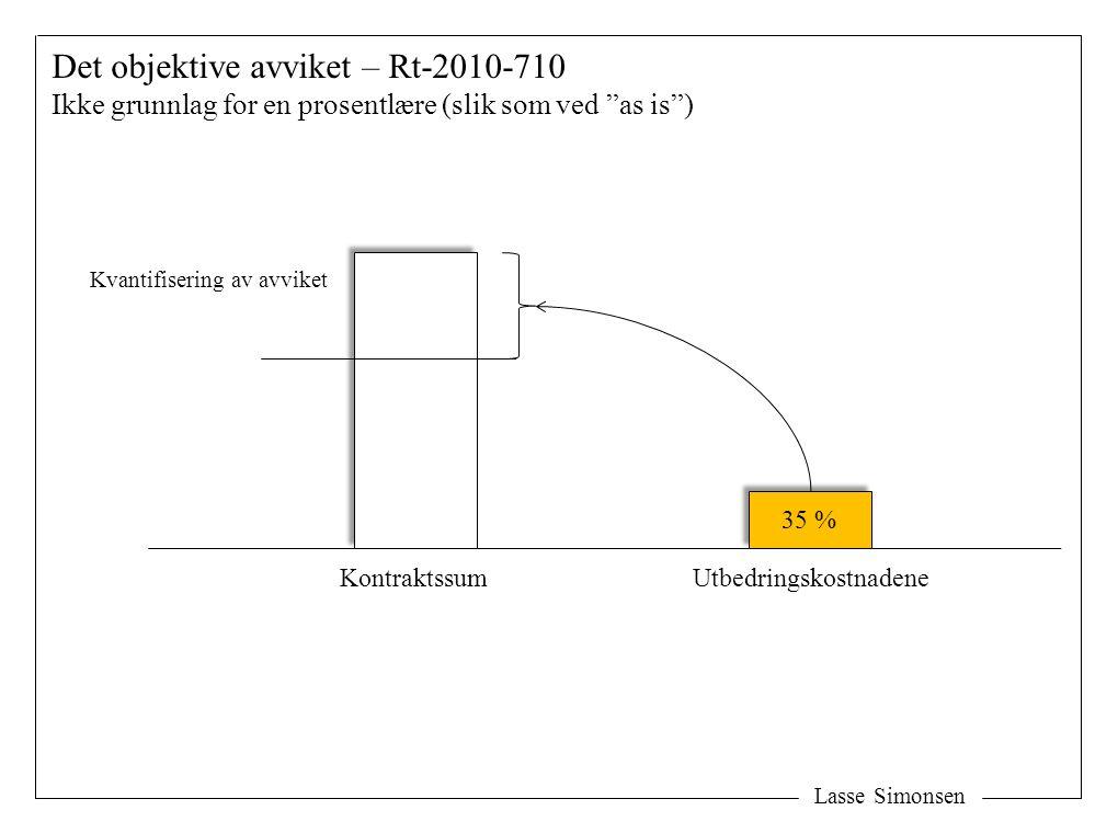 """Lasse Simonsen Det objektive avviket – Rt-2010-710 Ikke grunnlag for en prosentlære (slik som ved """"as is"""") Kontraktssum 35 % Utbedringskostnadene Kvan"""