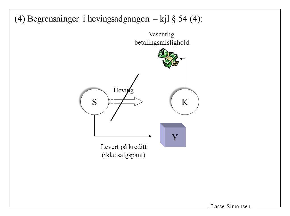 Lasse Simonsen S S K K Y Levert på kreditt (ikke salgspant) Vesentlig betalingsmislighold (4) Begrensninger i hevingsadgangen – kjl § 54 (4): Heving