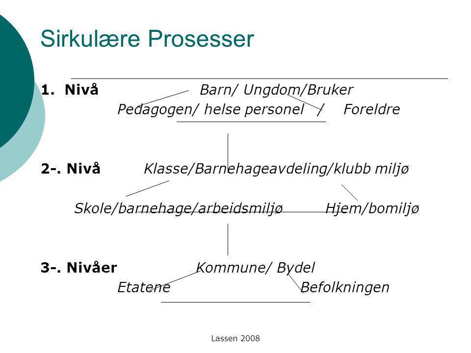 Lassen 2008 Sirkulære Prosesser 1. Nivå Barn/ Ungdom/Bruker Pedagogen/ helse personel / Foreldre 2-. Nivå Klasse/Barnehageavdeling/klubb miljø Skole/b