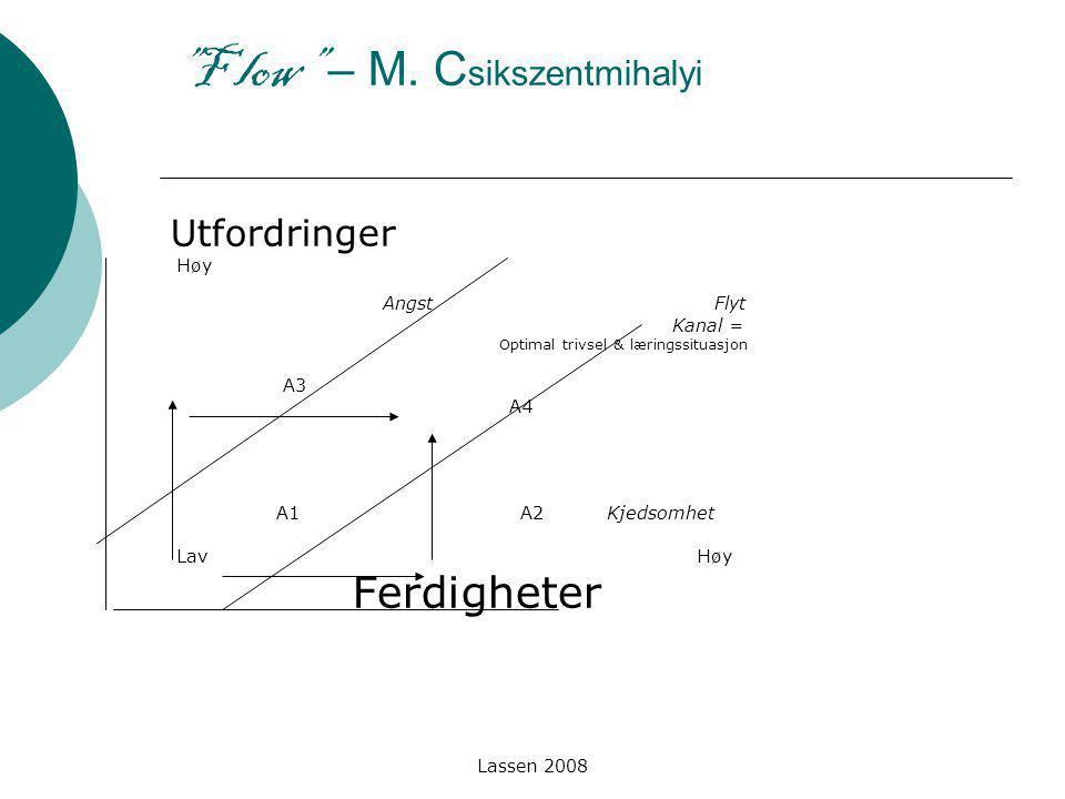 """Lassen 2008 """"F low"""" – M. C sikszentmihalyi Utfordringer Høy Angst Flyt Kanal = Optimal trivsel & læringssituasjon A3 A4 A1 A2 Kjedsomhet Lav Høy Ferdi"""