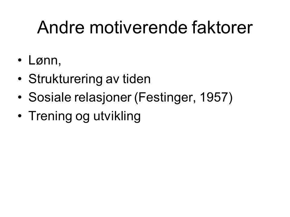 Andre motiverende faktorer Lønn, Strukturering av tiden Sosiale relasjoner (Festinger, 1957) Trening og utvikling