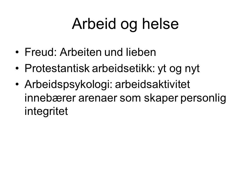 Arbeid og helse Freud: Arbeiten und lieben Protestantisk arbeidsetikk: yt og nyt Arbeidspsykologi: arbeidsaktivitet innebærer arenaer som skaper perso