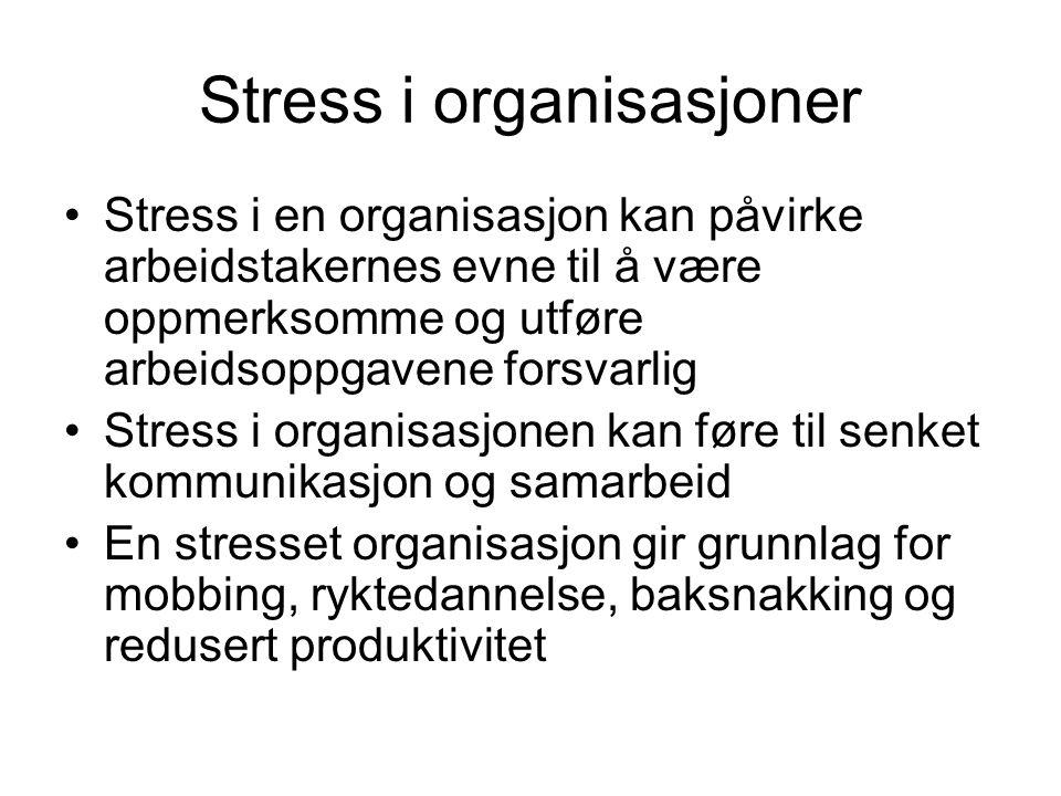Stress i organisasjoner Stress i en organisasjon kan påvirke arbeidstakernes evne til å være oppmerksomme og utføre arbeidsoppgavene forsvarlig Stress