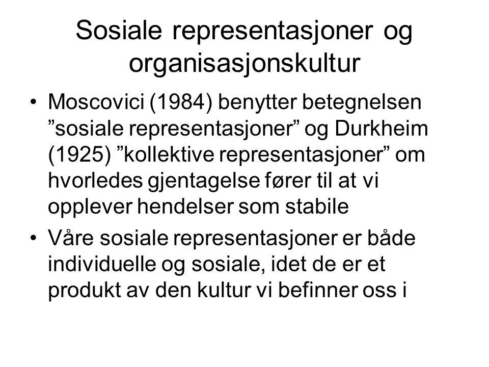"""Sosiale representasjoner og organisasjonskultur Moscovici (1984) benytter betegnelsen """"sosiale representasjoner"""" og Durkheim (1925) """"kollektive repres"""