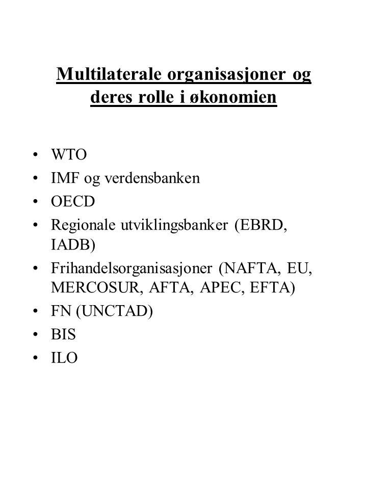 Multilaterale organisasjoner og deres rolle i økonomien WTO IMF og verdensbanken OECD Regionale utviklingsbanker (EBRD, IADB) Frihandelsorganisasjoner (NAFTA, EU, MERCOSUR, AFTA, APEC, EFTA) FN (UNCTAD) BIS ILO