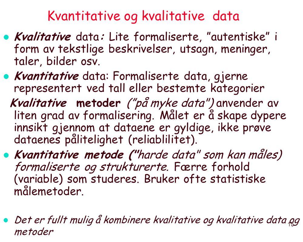 """15 Kvantitative og kvalitative data l Kvalitative data: Lite formaliserte, """"autentiske"""" i form av tekstlige beskrivelser, utsagn, meninger, taler, bil"""