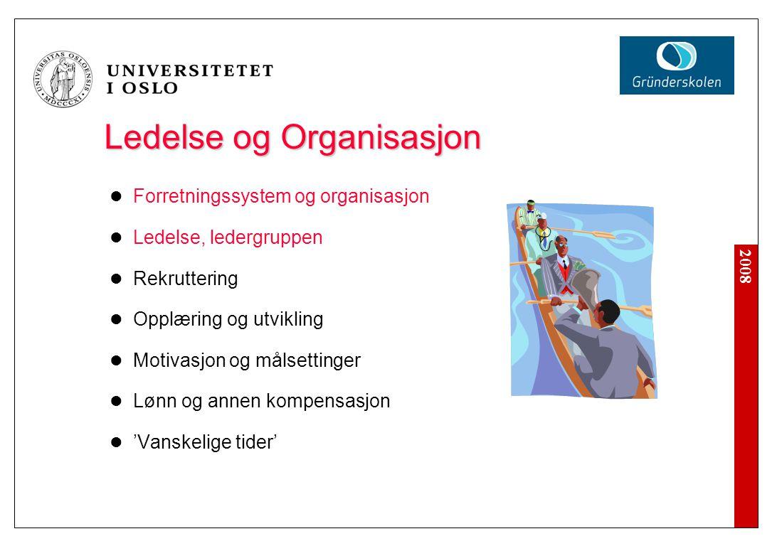 2008 Ledelse og Organisasjon Forretningssystem og organisasjon Ledelse, ledergruppen Rekruttering Opplæring og utvikling Motivasjon og målsettinger Lø