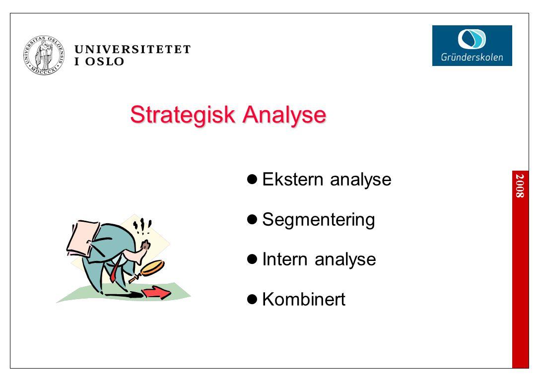 2008 Strategisk Analyse Ekstern analyse Segmentering Intern analyse Kombinert