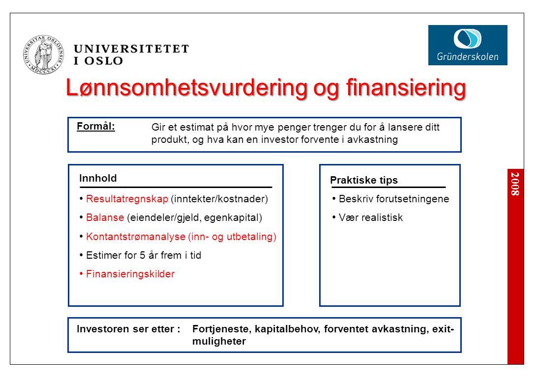 2008 Lønnsomhetsvurdering og finansiering Investoren ser etter : Beskriv forutsetningene Vær realistisk Innhold Praktiske tips Resultatregnskap (innte