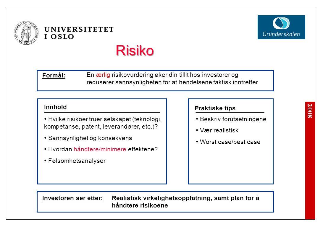 2008 Investoren ser etter: Beskriv forutsetningene Vær realistisk Worst case/best case Innhold Praktiske tips Hvilke risikoer truer selskapet (teknolo