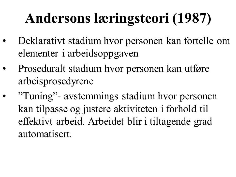 Andersons læringsteori (1987) Deklarativt stadium hvor personen kan fortelle om elementer i arbeidsoppgaven Proseduralt stadium hvor personen kan utfø
