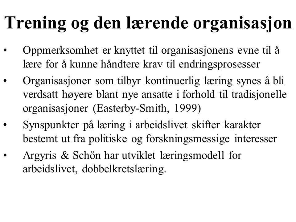 Trening og den lærende organisasjon Oppmerksomhet er knyttet til organisasjonens evne til å lære for å kunne håndtere krav til endringsprosesser Organ