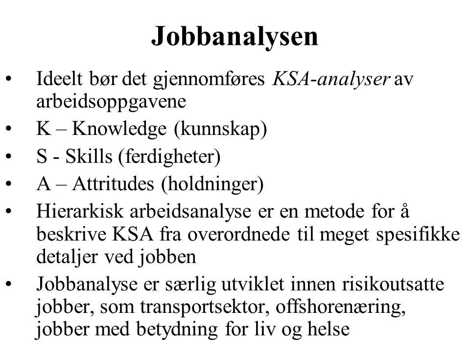 Jobbanalysen Ideelt bør det gjennomføres KSA-analyser av arbeidsoppgavene K – Knowledge (kunnskap) S - Skills (ferdigheter) A – Attritudes (holdninger