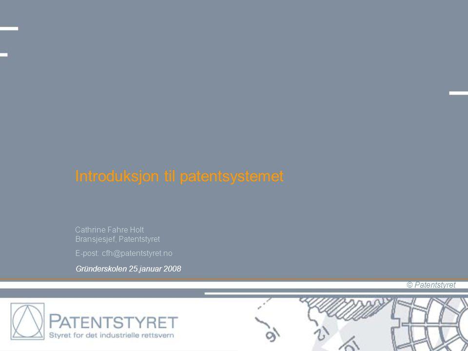 © Patentstyret Introduksjon til patentsystemet Gründerskolen 25.januar 2008 Cathrine Fahre Holt Bransjesjef, Patentstyret E-post: cfh@patentstyret.no
