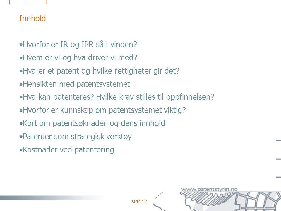 side 12 Innhold Hvorfor er IR og IPR så i vinden? Hvem er vi og hva driver vi med? Hva er et patent og hvilke rettigheter gir det? Hensikten med paten