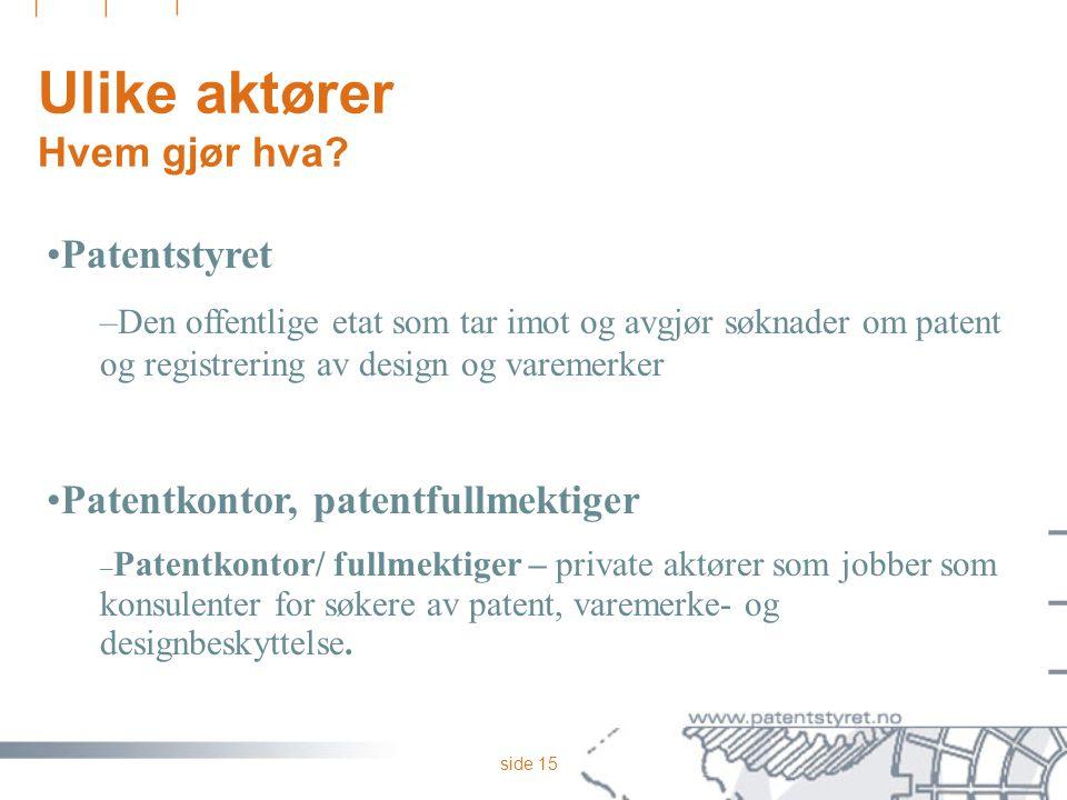 side 15 Ulike aktører Hvem gjør hva? Patentstyret –Den offentlige etat som tar imot og avgjør søknader om patent og registrering av design og varemerk