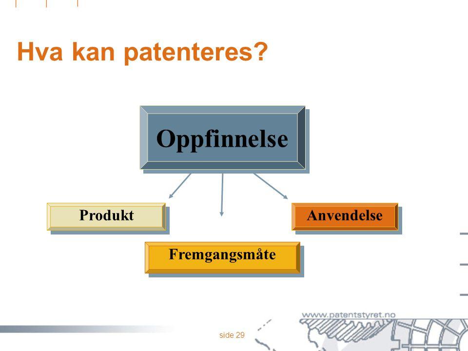 side 29 Hva kan patenteres? Anvendelse Fremgangsmåte Produkt Oppfinnelse