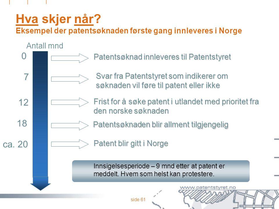 side 61 Hva skjer når? Eksempel der patentsøknaden første gang innleveres i Norge Innsigelsesperiode – 9 mnd etter at patent er meddelt. Hvem som hels