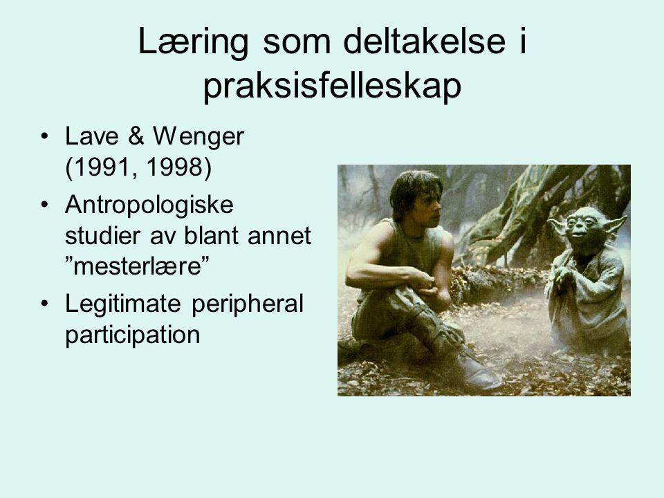 """Læring som deltakelse i praksisfelleskap Lave & Wenger (1991, 1998) Antropologiske studier av blant annet """"mesterlære"""" Legitimate peripheral participa"""