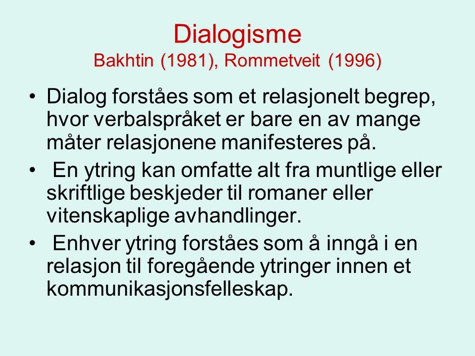 Dialogisme Bakhtin (1981), Rommetveit (1996) Dialog forståes som et relasjonelt begrep, hvor verbalspråket er bare en av mange måter relasjonene manif